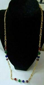 "Gold Tone 28"" Chain Necklace with Multi-color Beads"