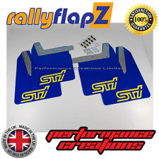 Qty4 Mud Flaps & Fixings SUBARU IMPREZA New Age 01-07 4mm PVC Blue STi Yellow