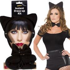 Black Cat Set Womens Accessory Animal Fancy Dress Ears Tail Bowtie Smiffys 360