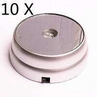 10X Round Display Stand Base 3 LED White Lights Crystal Ball cocktail Silver H