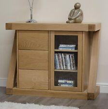 Z solid oak designer furniture glazed CD DVD storage chest sideboard