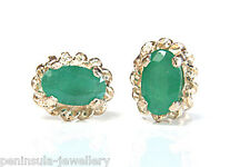 9ct Gold Emerald Oval Stud earrings Gift Boxed studs