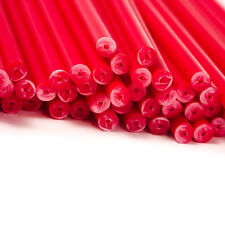 x100 114mm x 4mm Red Coloured Plastic Lollipop Lolly Cake Pop Sticks Crafts