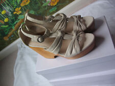 COACH Women Beige Platform Wedge Leather Shoes Sandals Size 9B NWB