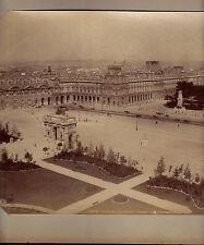 """PARIS-PLACE DU CARROUSEL LOUVRE-ALBUMEN PHOTO-8"""" x 11""""- CIRCA 1890"""