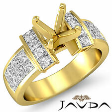Diamond Anniversary Ring 14k Yellow Gold Princess Invisible Semi Mount 1.03Ct