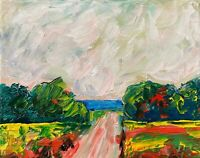 Oil Painting IMPRESSIONISM Landscape Dirt Tract Field Clouds Impasto Texture