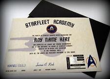 Star Trek Starfleet Academy Certificate in a Presentation Folder - Any Name