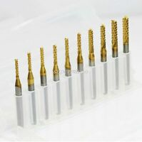 10 Titanium Coat Carbide 1.5mm-3.175mm End Mill Engraving Bits CNC Rotary Burrs