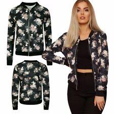 Hip Length V-Neckline Floral Coats & Jackets for Women