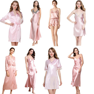 Lace Satin Silk Nightgowns Women's Robes Long Chemise Sleepwear Nightdress Suits