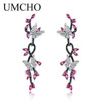 925 Sterling Silver Butterfly Natural Gemstone Black Spinel Ruby Drop Earrings