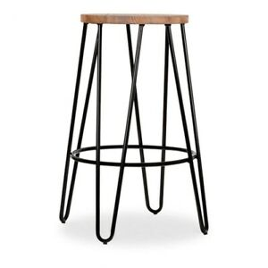 NEW KITCHEN / Bar STOOL Wooden Metal Brown Black 63cm