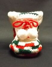 Small Hand-Knit Christmas Bootie - 6 inches tall