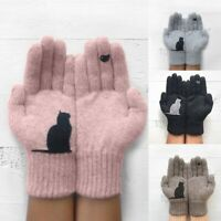 Winter Warm Womens Cute Cat Print Knitted Gloves Wool Gloves lady Mittens