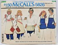1977 McCalls Sewing Pattern #5826 Mens & Womens Aprons 3 Styles One Size 6329F