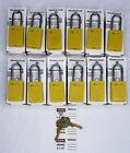 Lot of 12 Master Lock Lockout Safety Padlock Yellow Thermoplastic SAME KEY (2)