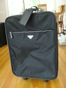 PRADA Carry-on Luggage - Black Canvas and Saffino Leather Trim - Travel in Style