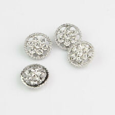 20 Pcs Round Silver Clear Crystal Rhinestone Shank Buttons Sewing Crafts
