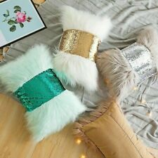 Lumbar Pillow Case Plush Sequin Cushion Covers Bow-knot Car Seat Home Decor Cosy