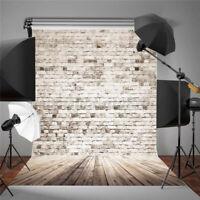 5x7FT Retro White Grey Brick Wall Wood Photography Background Valentine Backdrop