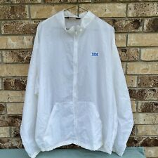 Vintage Ibm Logo White Windbreaker Jacket Large Auburn Sportswear Made Usa Coat