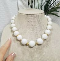 Vintage Graduated White Acrylic and Gold Tone Bead Choker Necklace
