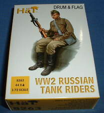 HAT 8263. WW2 RUSSIAN TANK RIDERS 1/72 SCALE. 44 UNPAINTED PLASTIC FIGURES
