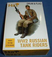 HAT 8263. WW2 RUSSIAN TANK RIDERS 1/72 SCALE. 44 UNPAINTED PLASTIC FIGURES