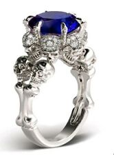 Stunning Goth Skull 2.57ct Blue Sapphire Silver Sterling plated Ring Size R.