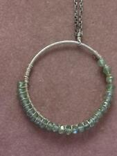 "HM 925 STERLING & FACETED AQUAMARINE BEAD CIRCLE PENDANT  & 18"" CHAIN NECKLACE"