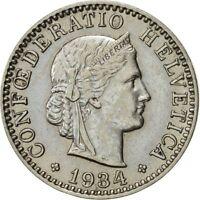 [#421230] Suisse, 20 Rappen, 1934, Bern, SUP, Nickel, KM:29