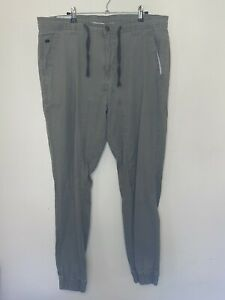 Lee Cooper Mens Size 40 Casual Pants Trousers Elastic Hem Zip Fly Green Cotton