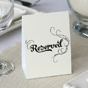 Ivory Shimmer Reserved Signs Wedding Reception Tables 10/pk