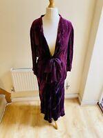 Poetry Purple Velvet Silk Blend Two Piece Cardigan Jacket Skirt Set Size 18