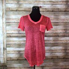 Derek Heart Sheer T-Shirt Vintage Style Short Sleeve Small S Red V-Neck