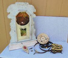 Ansonia Clock Antique Wood Case Glass Front w/ escapement Parts Repurpose Repair