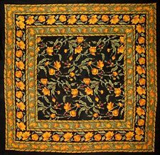 """French Floral Square Cotton tablecloth 60"""" x 60"""" Amber on Black"""