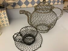 Wire Metal Woven Tea Pot Basket and teacup Farmhouse Style Decor Wire