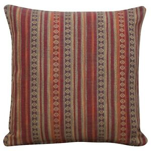 """Turkish Style Woven Striped Cushion in Burgundy Red. Heavyweight Fabric. 17x17""""."""