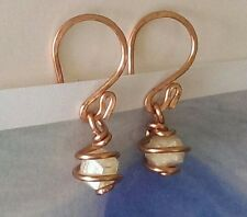 RHODIZITE CRYSTAL EARRINGS -Spiral Wrapped in Copper- Large 6mm Rhodizite! YES!