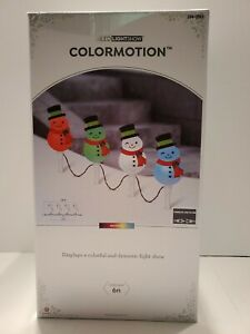 Gemmy LED LightShow ColorMotion 4 Snowman Pathway Lights Stakes Markers. 7.5ft.