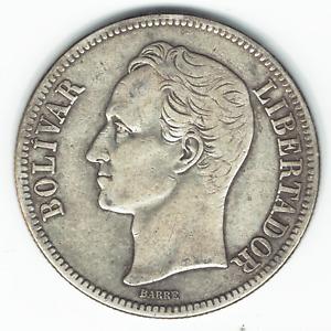 Silver Coin 1935 Venezuela Fuerte Libertador 5 Bolivares XF Y#24.2 Dollar