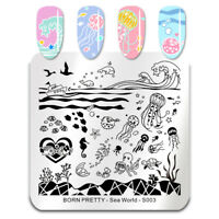 BORN PRETTY Nail Art Stamping Plate Square Jellyfish Wave Pattern Sea World-S003