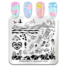 BORN PRETTY Square Nail Stamping Plate Jellyfish Wave Stamp Plate Sea World-S003