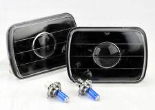 "7x6"" Halogen H4 Black Glass Projector Headlight Conversion Pair w/ Bulbs Jeep"