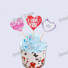 12pcs/set Cake Toppers Heart Happy Birthday Cake Decoration Card w/toothpicks