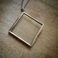 Two-Sided Square Diamond Geometric Silver Glass Frame Necklace, Pendant & Chain