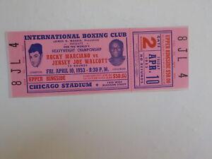 ROCKY MARCIANO vs JERSEY JOE WALCOTT II Boxing Ticket 1953 Boxers Fight Sports N