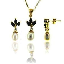 Sapphire Pearl Diamond Matching Necklace Earring Set 14k Yellow Gold over 925 SS